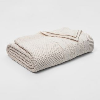 Full/Queen Cable Knit Chenille Bed Blanket Cream - Threshold™