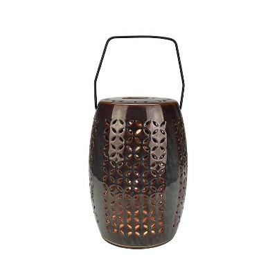 "Northlight 10.25"" Decorative Chestnut Brown Bellaroma Crescent Cut-Out Ceramic Candle Warmer Lantern"