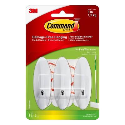 Command Medium Wire Hooks 3 Hooks - 4 Strips/Pack