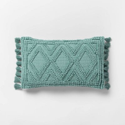 Lumbar Woven Textured Diamond Throw Pillow Teal - Opalhouse™