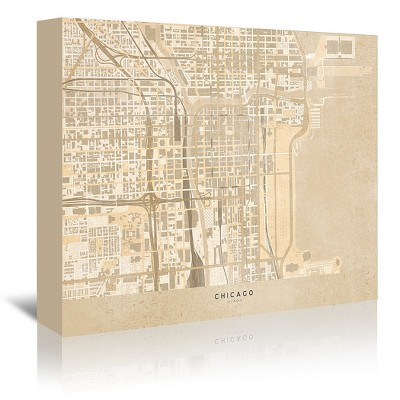 Americanflat Map Of Chicago In Vintage Sepia by Blursbyai Wrapped Canvas