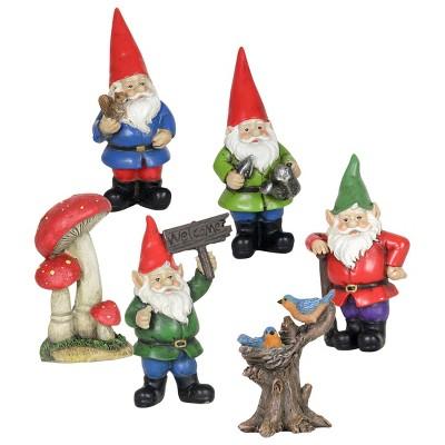 6pc Resin Miniature Gnome Garden Set - Exhart