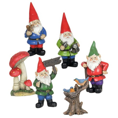 6pc Resin Miniature Gnome Garden Set - Exhart - image 1 of 4