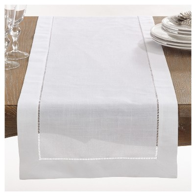 "16""x72"" Hemstitch Design Table Runner White - Saro Lifestyle"
