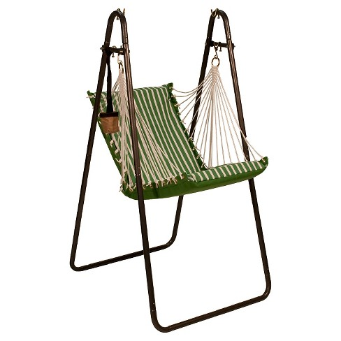 Algoma Sunbrella Soft Comfort Hanging Chair with Stand - Shore Emerald Stripe/Volt Emerald Solid - image 1 of 1