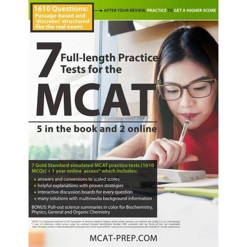 7 Full-Length MCAT Practice Tests: 5 in the Book and 2 Online - (Paperback) - image 1 of 1