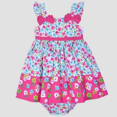 Baby Girls' Contrast Flower Poplin Sundress Nate & Annee™ Green/Pink 3-6M