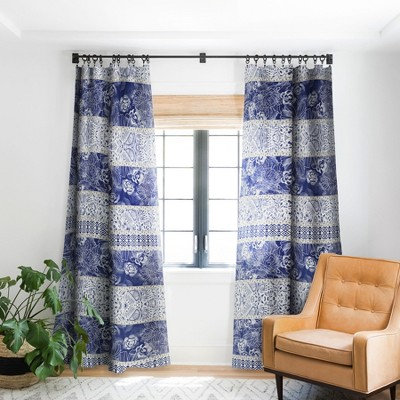 Marta Barragan Camarasa Floral Indigo Single Panel Blackout Window Curtain - Deny Designs