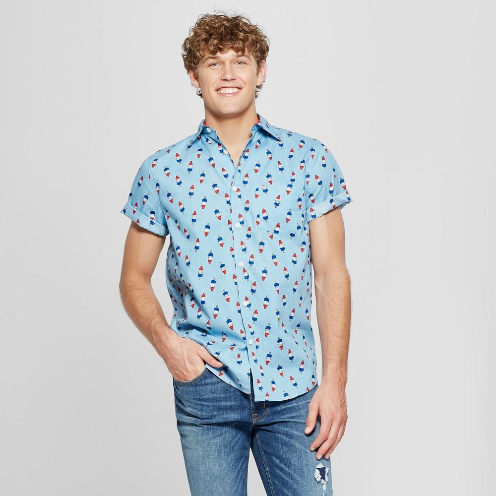 Men's Popsicle Short Sleeve Woven Button-Down Shirt - Denim Blue S
