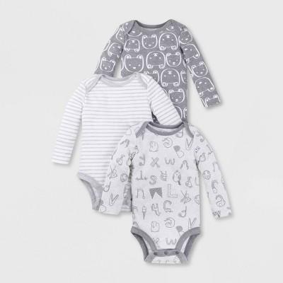 Lamaze Baby Organic 3pk Long Sleeve Alpha Print Bodysuit - Gray Newborn