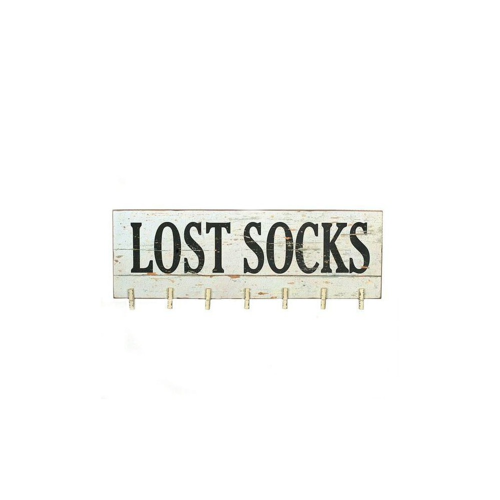 Lost Socks Wall Décor with Clothespins - 3R Studios, Black