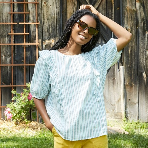 Women's Puff Short Sleeve Ruffle Blouse - Universal Thread™ - image 1 of 4