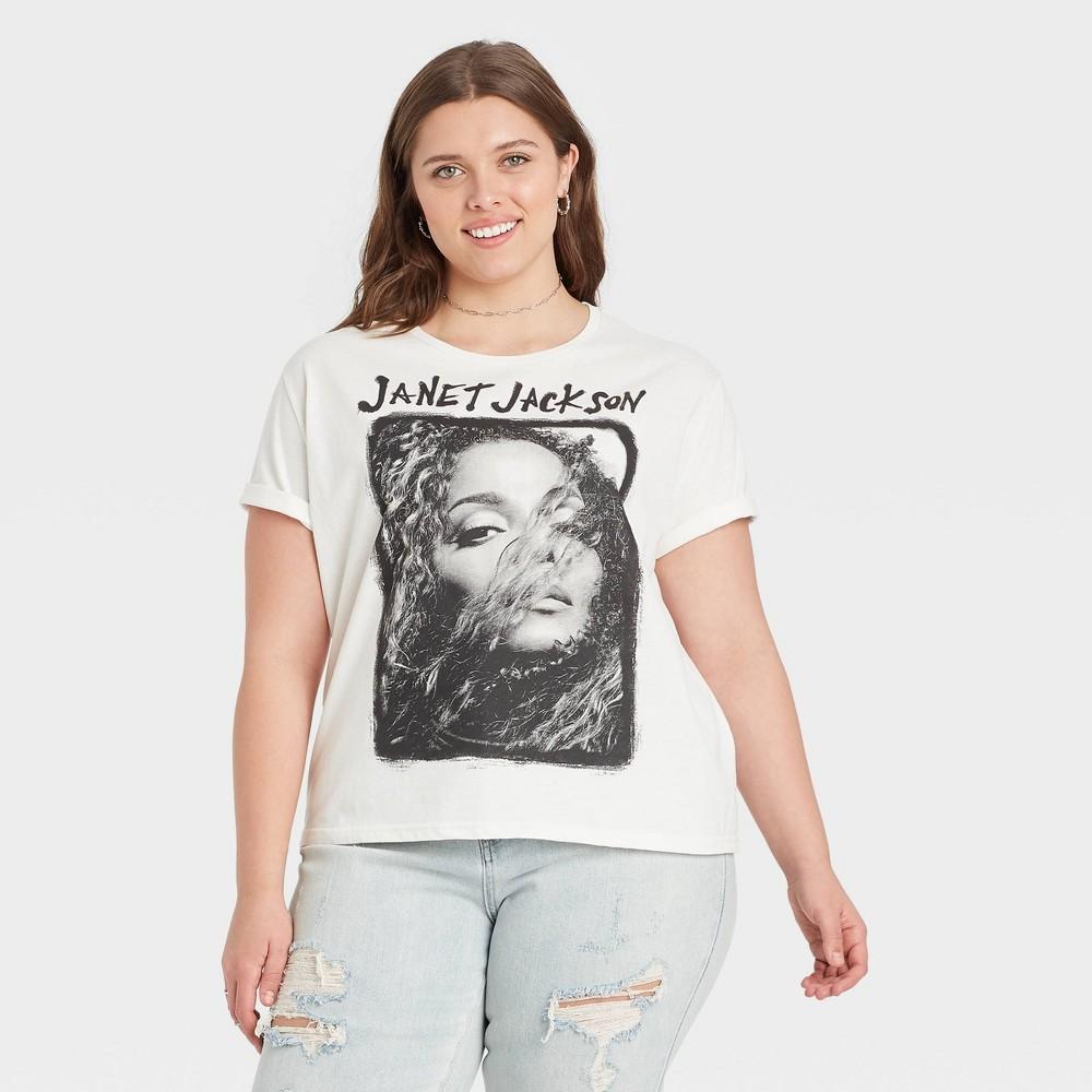 Women 39 S Janet Jackson Plus Size Short Sleeve Graphic T Shirt White 1x