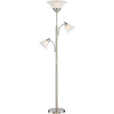 360 Lighting Modern Torchiere Floor Lamp 3-Light Tree Brushed Steel Alabaster Glass Shades for Living Room Reading Bedroom Office