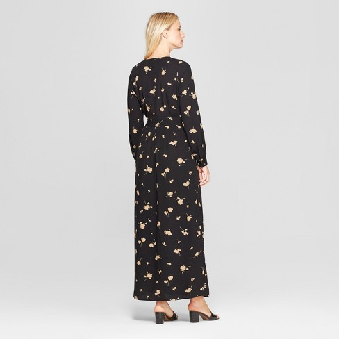 Womens Floral Print Long Sleeve Maxi Wrap Dress Who What Wear