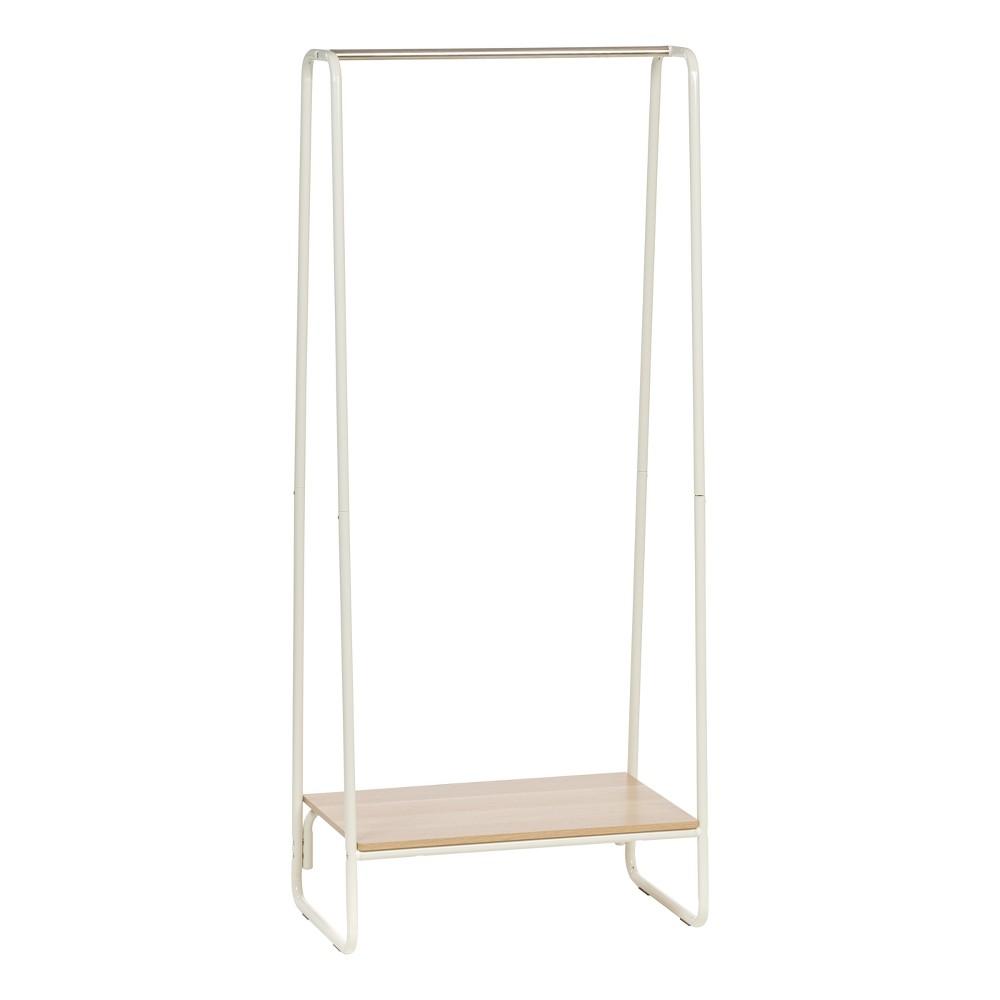 Iris Garment Rack with Wood Shelf - White
