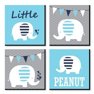 Big Dot of Happiness Blue Baby Elephant - Kids Room, Nursery Decor and Home Decor - 11 x 11 inches Nursery Wall Art - Set of 4 Prints for baby's room