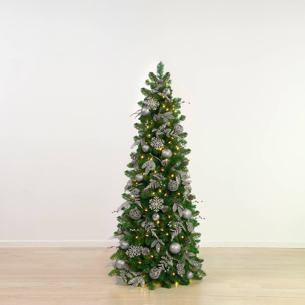5 5ft Easy Treezy Pre Lit Led Shimmering Frost Pre Decorated 38 Easy Setup Artificial Christmas Tree