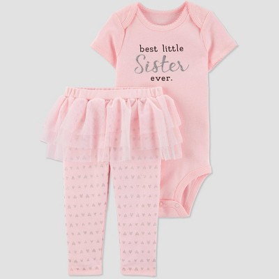 Baby Girls' Family Love 2pc 'Best Little Sister Ever' Top & Bottom Set - Just One You® made by carter's Pink 3M