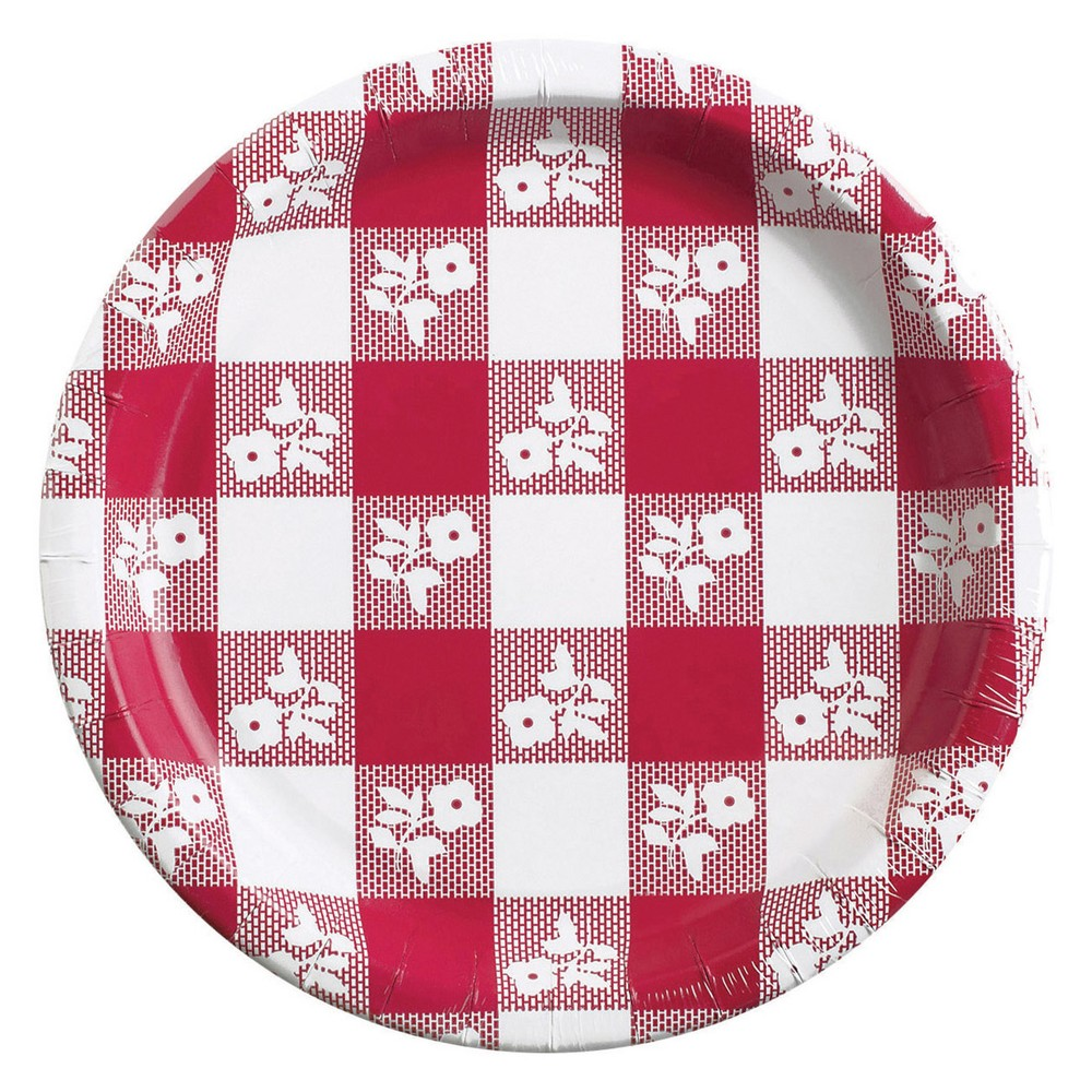 24ct Red Gingham Dessert Plates Red