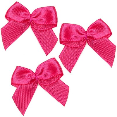 "350pcs Mini Satin Ribbon Bow Flowers with Self-Adhesive Tape for DIY Crafts, Sewing, Scrapbooking and Gift (Rose Red, 1.5"")"