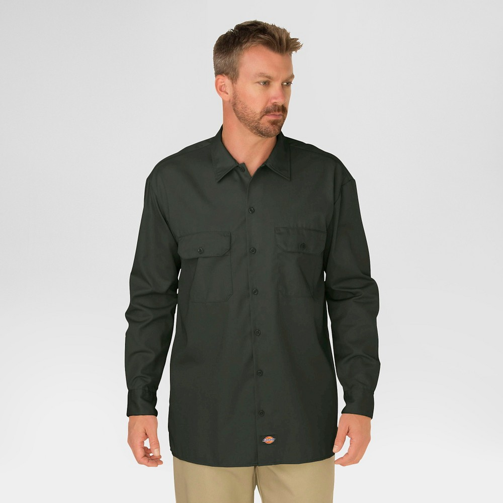 Dickies Men's Original Fit Long Sleeve Twill Work Shirt- Olive Green XL