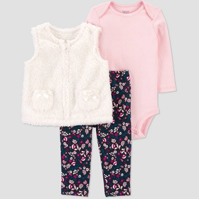 Baby Girls' Sherpa Top & Bottom Set - Just One You® made by carter's Ivory 6M
