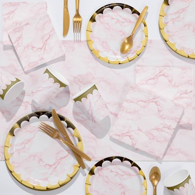 Marble Deluxe Party Supplies Kit Pink