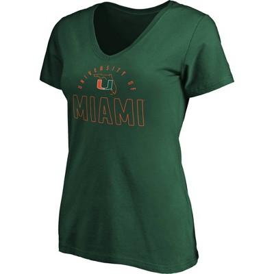 NCAA Miami Hurricanes Women's Short Sleeve V-Neck T-Shirt