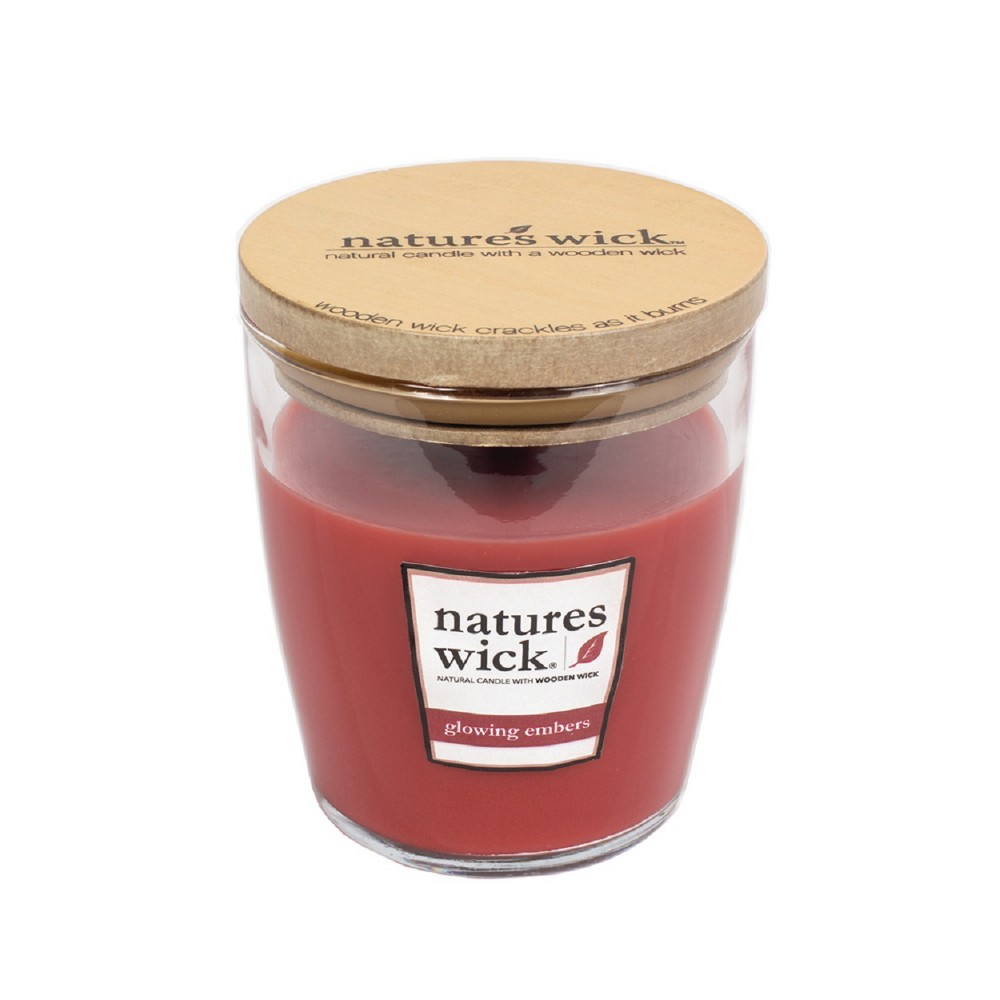Image of 10oz Glass Container Candle Glowing Embers - Nature's Wick, Dark Red