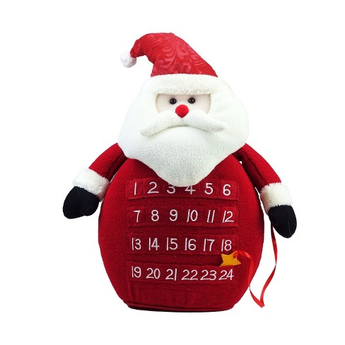 Roman 18 Plush Red Led Lighted Santa Claus Count Down To Christmas Advent Calendar
