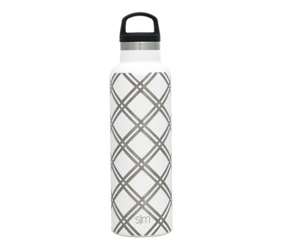 Simple Modern 20oz Ascent Stainless Steel Water Bottle White Lattice