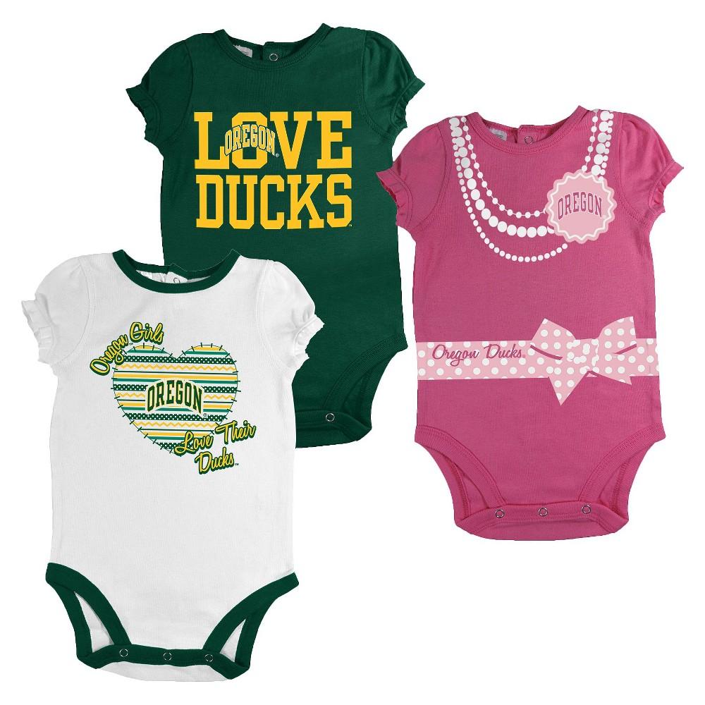 Oregon Ducks Newborn Girls 3pk Body Suit White, Size: 6-9M