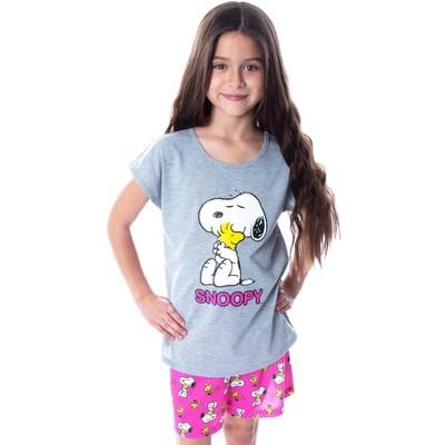 Peanuts Girls' Pajamas Snoopy and Woodstock Shirt And Shorts Pajama Set