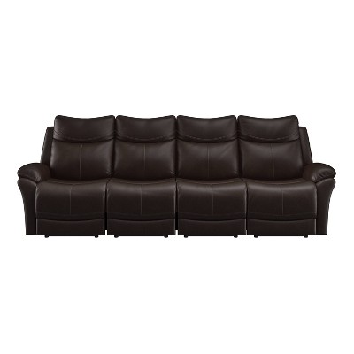 Aaron 4 Seat Wall Hugger Recliner Sofa Renu Leather Coffee Brown - ProLounger