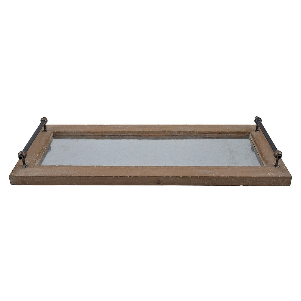 Metal and Wood Tray Brown