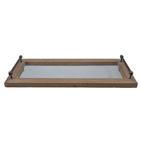 Metal and Wood Tray - Brown - image 1 of 2