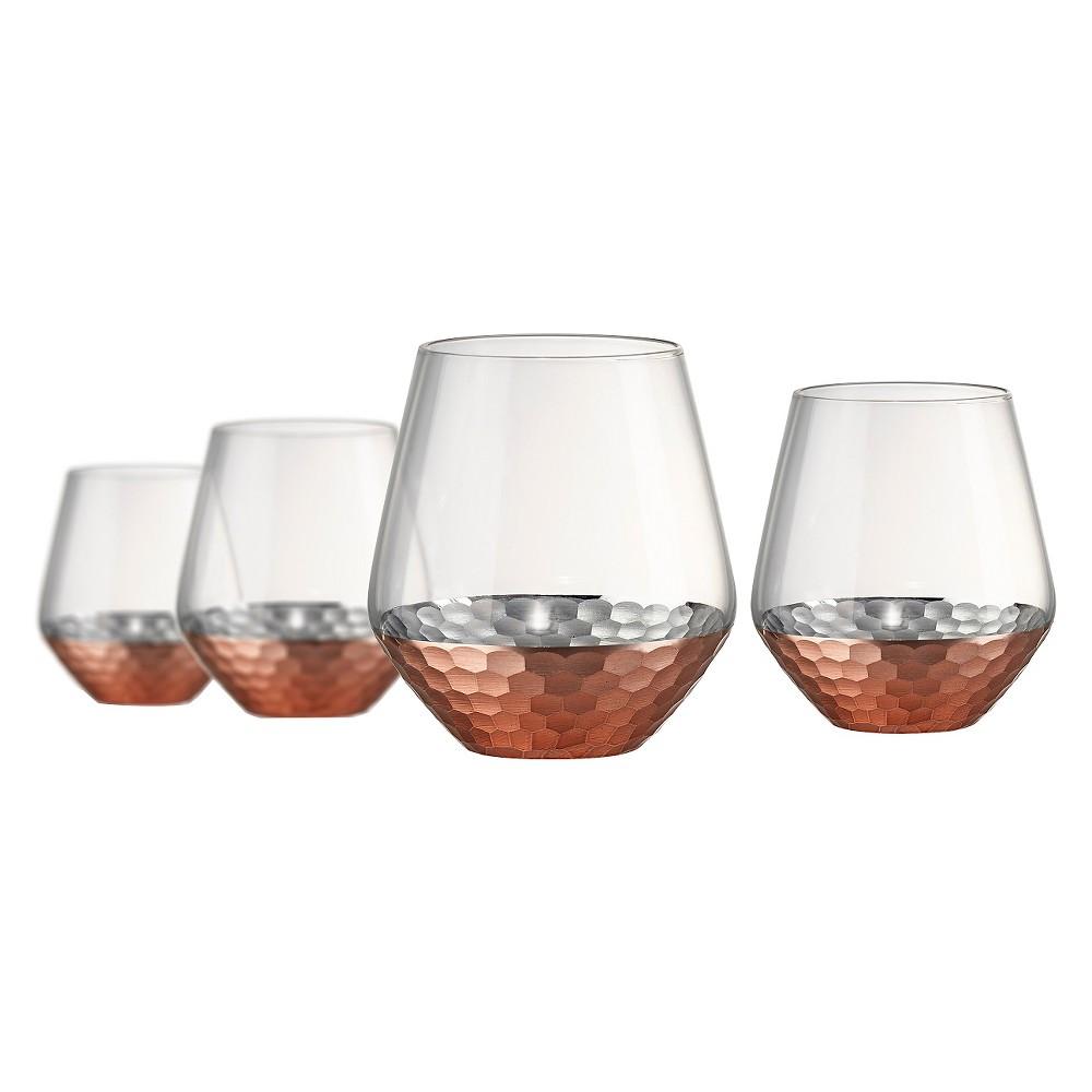 Artland Coppertino 4pk 17oz Double Old-Fashioned Glasses Copper