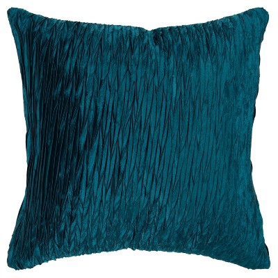 "18""x18"" Detailed Solid Textured Square Throw Pillow Blue - Rizzy Home"