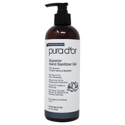 Pura d'or Superior Hand Sanitizer - Lemongrass - 16 fl oz