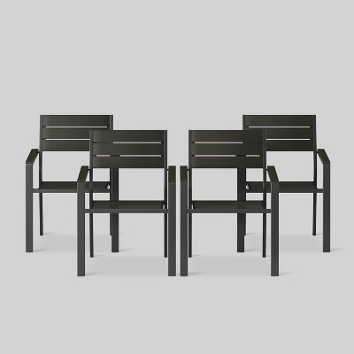 Bryant 4pk Stack Patio Dining Chair Black - Project 62™