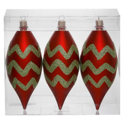 3ct Red/Green Chevron Glitter Drop Christmas Ornament Set - image 1 of 1