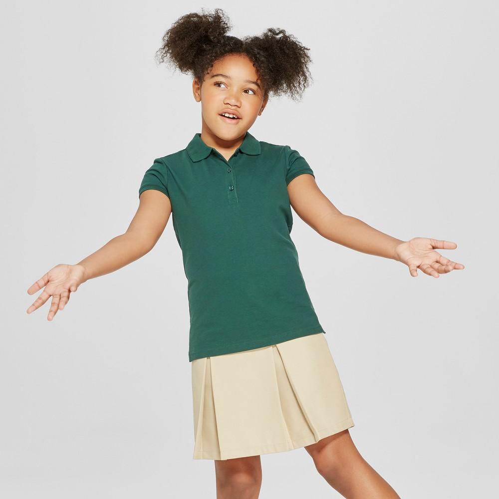 Girls' Short Sleeve Pique Polo Shirt - Cat & Jack Green Xxl