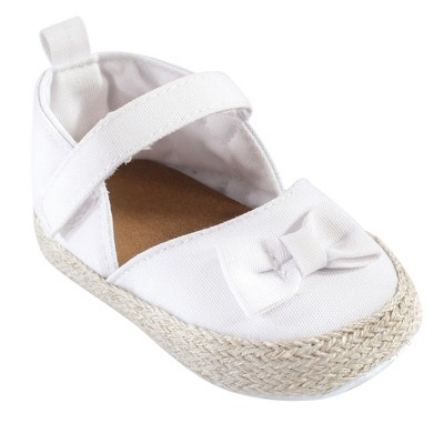 Luvable Friends Baby Girl Crib Shoes, White Espadrilles