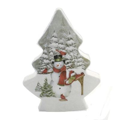 "Stony Creek 8.5"" Pine Trees Snowmen Pre-Lit Tree Chrismtas Snowman  -  Decorative Vases"