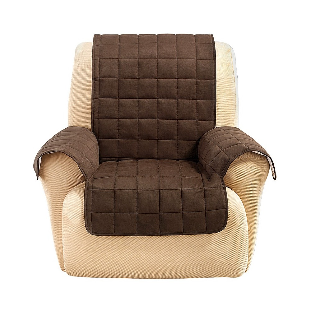 Ultimate Waterproof Suede Recliner/Wing Furniture Cover Chocolate (Brown) - Sure Fit