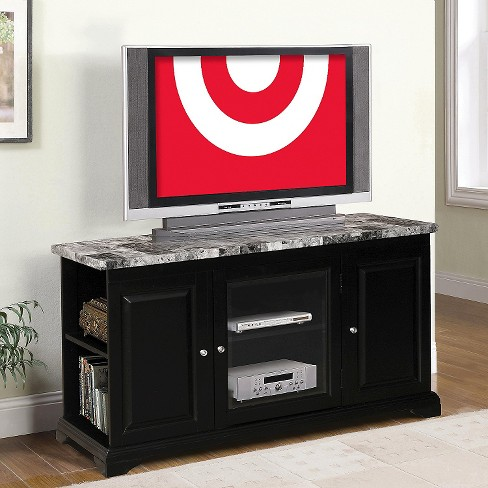 Tv Stand With Faux Marble Top Black 48 Home Source