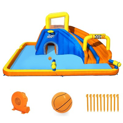 Bestway H2OGO! 18 x 16.5 x 8.7 Foot Super Double Racing Slide Speedway Kids Inflatable Water Park with Air Blower, Ground Stakes, and Storage Bag