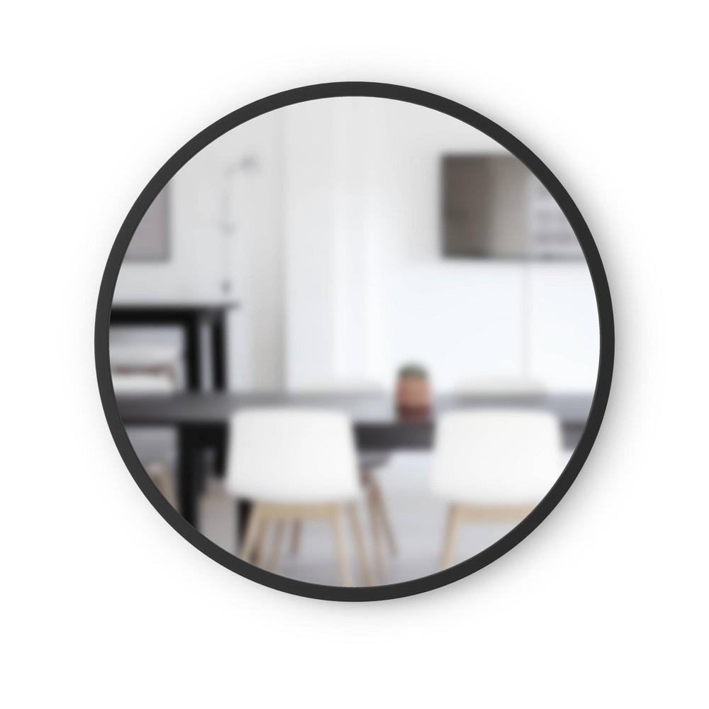 24 34 Hub Round Wall Mirror Black Umbra