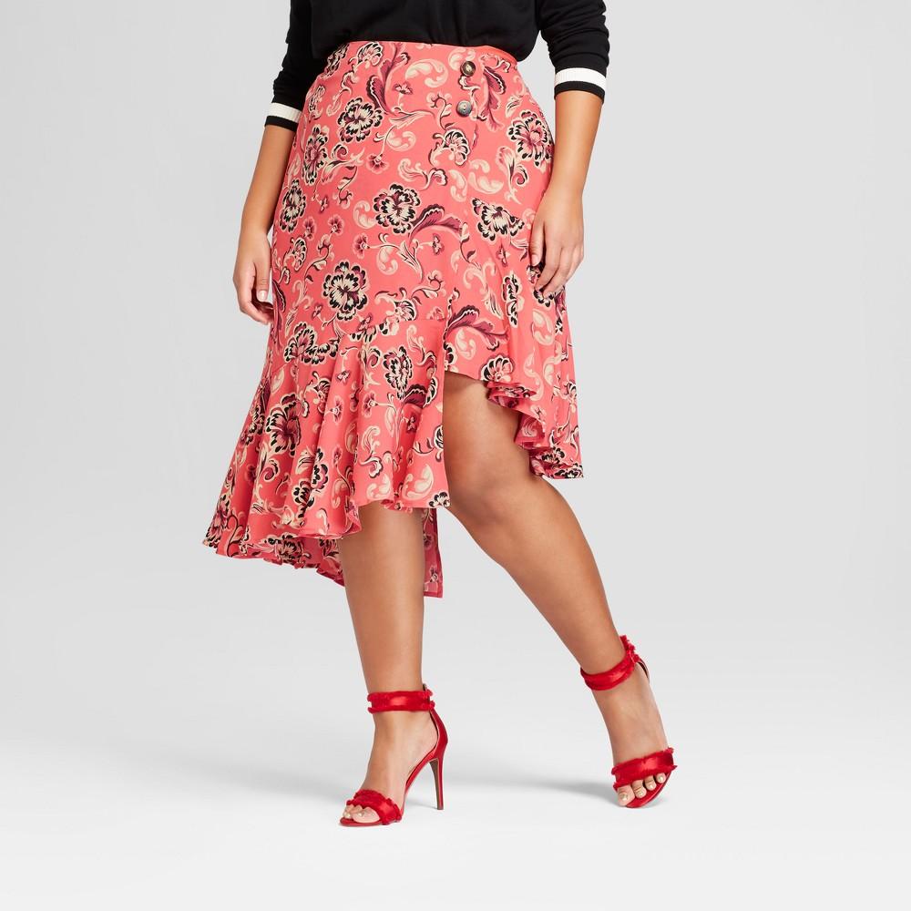 Women's Plus Size Asymmetrical Ruffle Midi Skirt - Who What Wear Pink Floral 14W